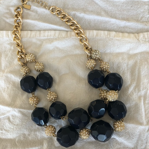 Lilly Pulitzer Navy Gold Statement Necklace EUC